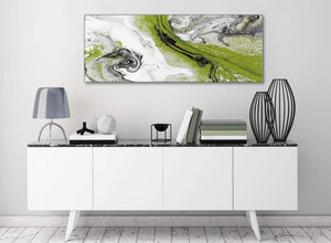 Lime Green and Grey Swirl Bedroom Canvas Pictures Accessories - Abstract 1464 - 120cm Print