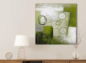 Lime Green Painting Kitchen Canvas Pictures Accessories - Abstract 1s434s - 49cm Square Print