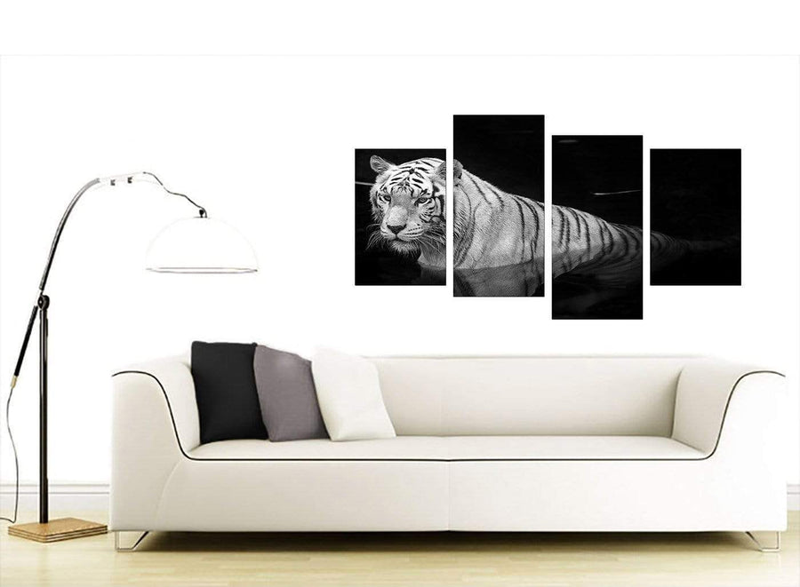 Set Of Four Living-Room Black White Canvas Wall Art
