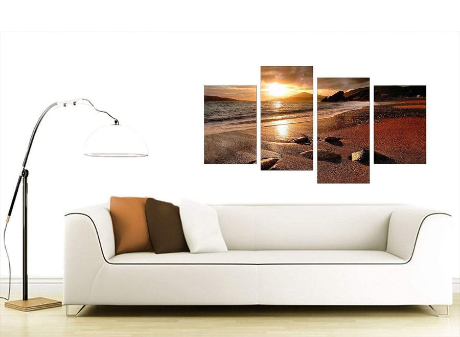 Brown Cheap Four Part Set of Beach Landscape