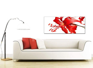 Modern Red Tiger Lily Flower on White Floral Canvas