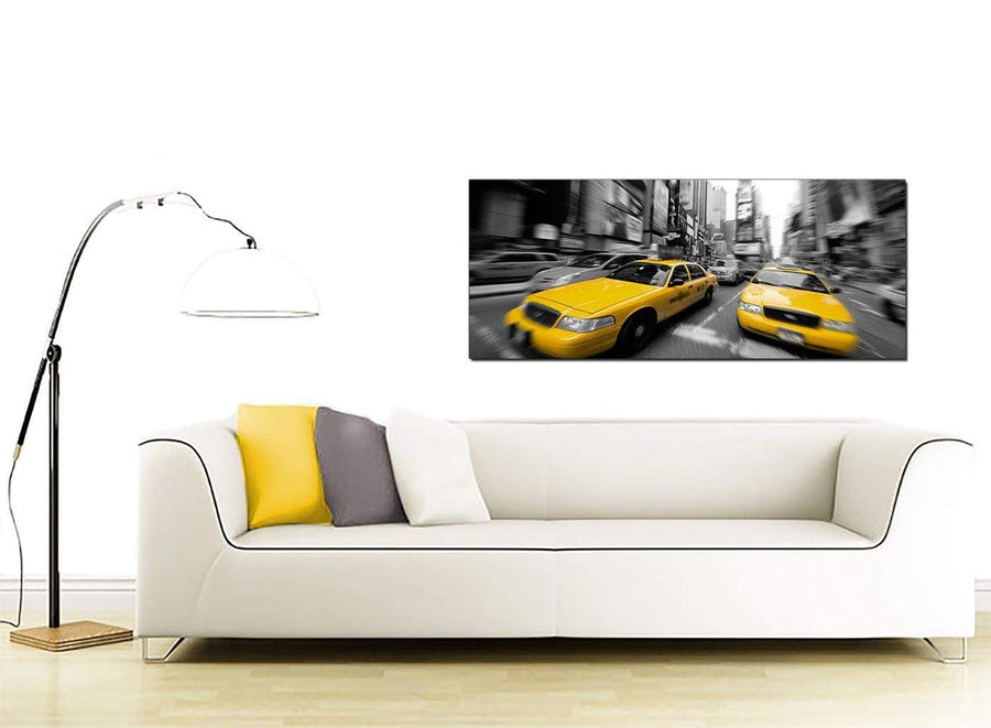 Black White Yellow Grey New York Taxi City Canvas