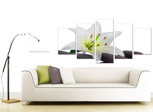 5 Piece Set of Living-Room Black White Canvas Art