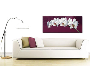 Plum White Coloured Orchid Flower Floral Canvas