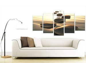 Set Of Five Living-Room Brown Canvas Prints