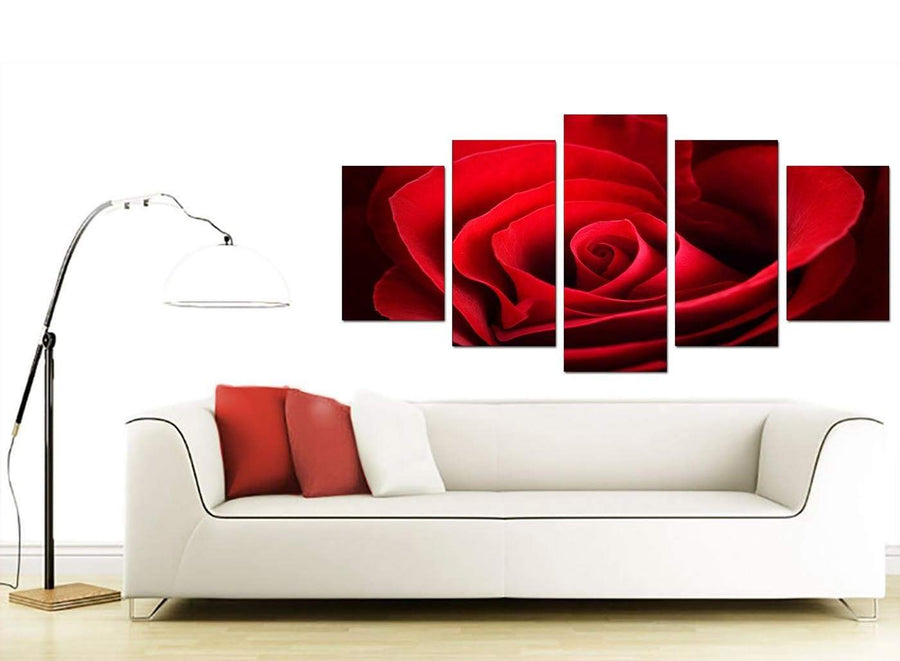 Set Of Five Living-Room Red Canvas Picture