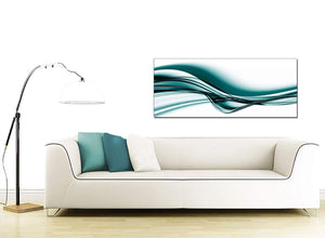 Teal Coloured White Wave Abstract Canvas