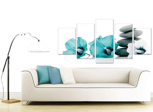 Set Of 5 Living-Room Teal Canvas Prints