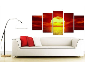 Red Modern Large Canvas of Sunset