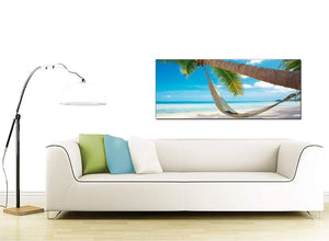 Modern Tropical Blue Palm Tree Scene Beach Canvas