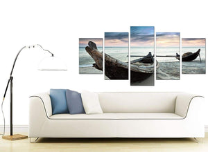 Thailand Fishing Boats Sunset Beach Modern Canvas Art