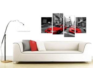 Red Black White Grey New York Taxi City Canvas