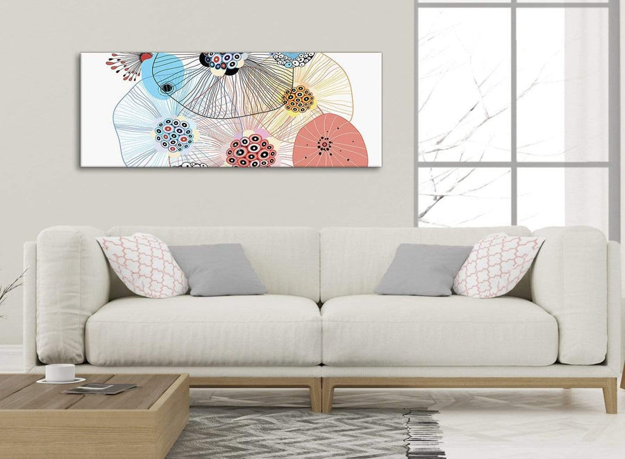 Modern Abstract Floral Multi-Colour Flowers Living Room Canvas Wall Art Accessories - Abstract 1485 - 120cm Print