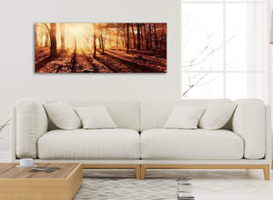Modern Autumn Leaves Forest Scenic Landscapes Canvas Art Pictures - Trees - 1386 Orange - 120cm Wide Print