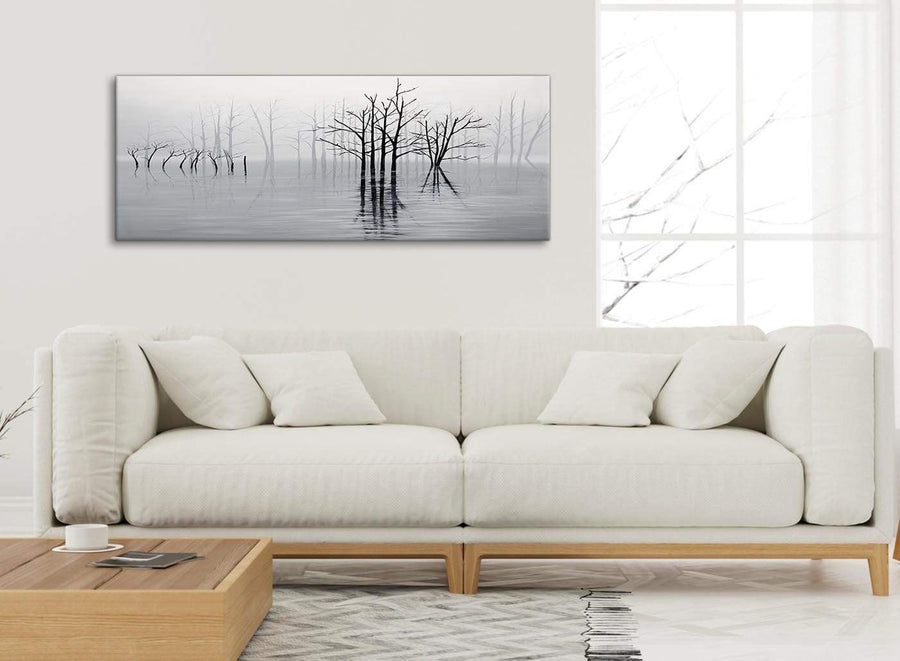 Modern Black White Grey Tree Landscape Painting Living Room Canvas Wall Art Accessories - 1416 - 120cm Print