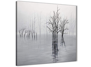 Modern Black White Grey Tree Landscape Painting Dining Room Canvas Pictures Decorations 1s416l - 79cm Square Print