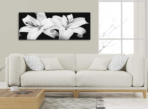 Modern Black White Lily Flower Living Room Canvas Wall Art Accessories - 1458 - 120cm Print
