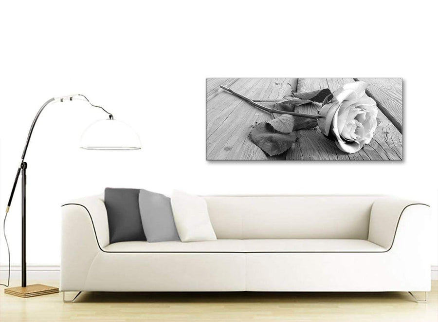 Modern Black White Rose Floral Bedroom Canvas Pictures Accessories - 1372 - 120cm Print