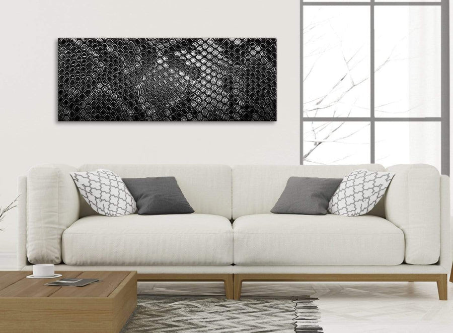 Modern Black White Snakeskin Animal Print Living Room Canvas Pictures Accessories - Abstract 1510 - 120cm Print