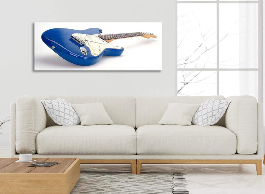 Modern Blue White Fender Electric Guitar - Bedroom Canvas Wall Art Accessories - 1447 - 120cm Print