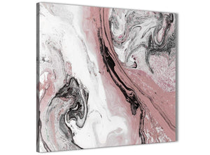 Modern Blush Pink and Grey Swirl Abstract Office Canvas Pictures Decorations 1s463l - 79cm Square Print