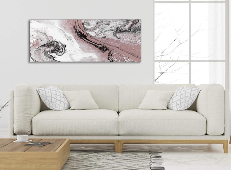 Modern Blush Pink and Grey Swirl Living Room Canvas Wall Art Accessories - Abstract 1463 - 120cm Print