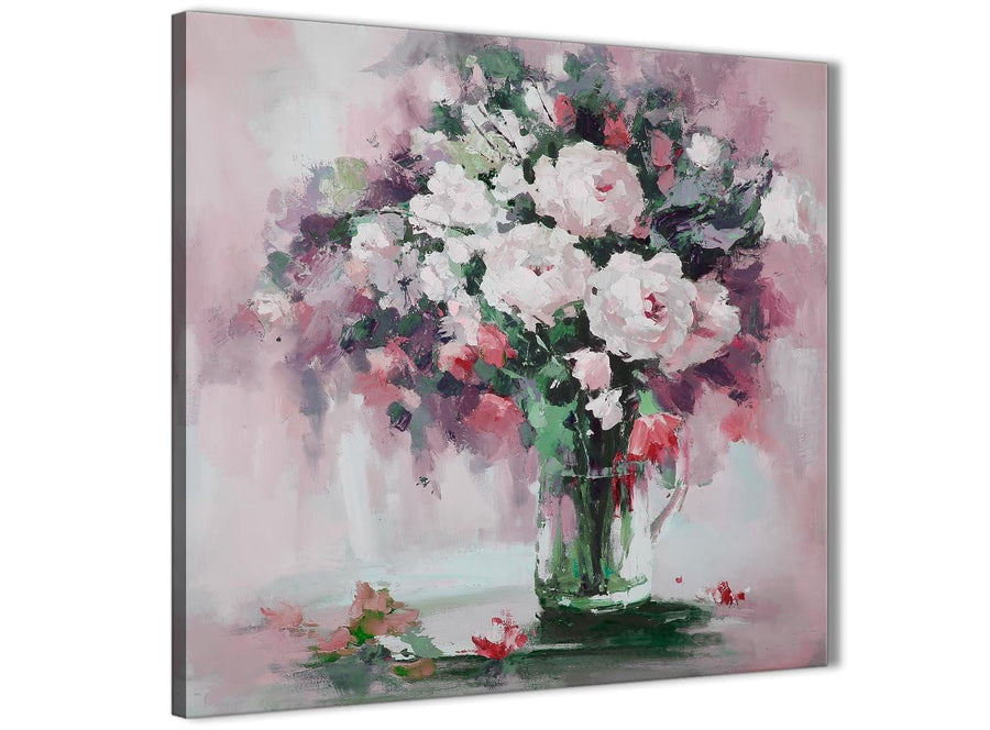Modern Blush Pink Flowers Painting Abstract Hallway Canvas Pictures Decor 1s441l - 79cm Square Print