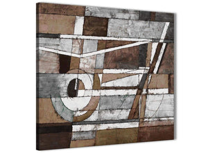 Modern Brown Beige White Painting Abstract Office Canvas Pictures Decorations 1s407l - 79cm Square Print