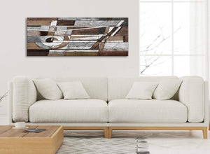 Modern Brown Beige White Painting Bedroom Canvas Pictures Accessories - Abstract 1407 - 120cm Print