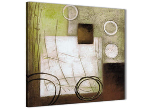 Modern Brown Green Painting Abstract Dining Room Canvas Pictures Decor 1s421l - 79cm Square Print