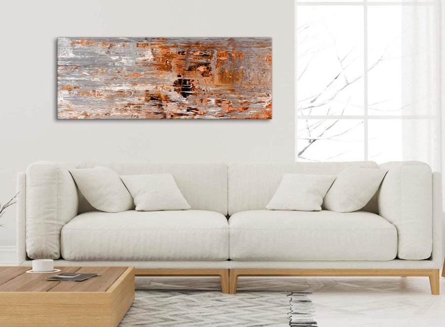 Modern Burnt Orange Grey Painting Living Room Canvas Wall Art Accessories - Abstract 1415 - 120cm Print