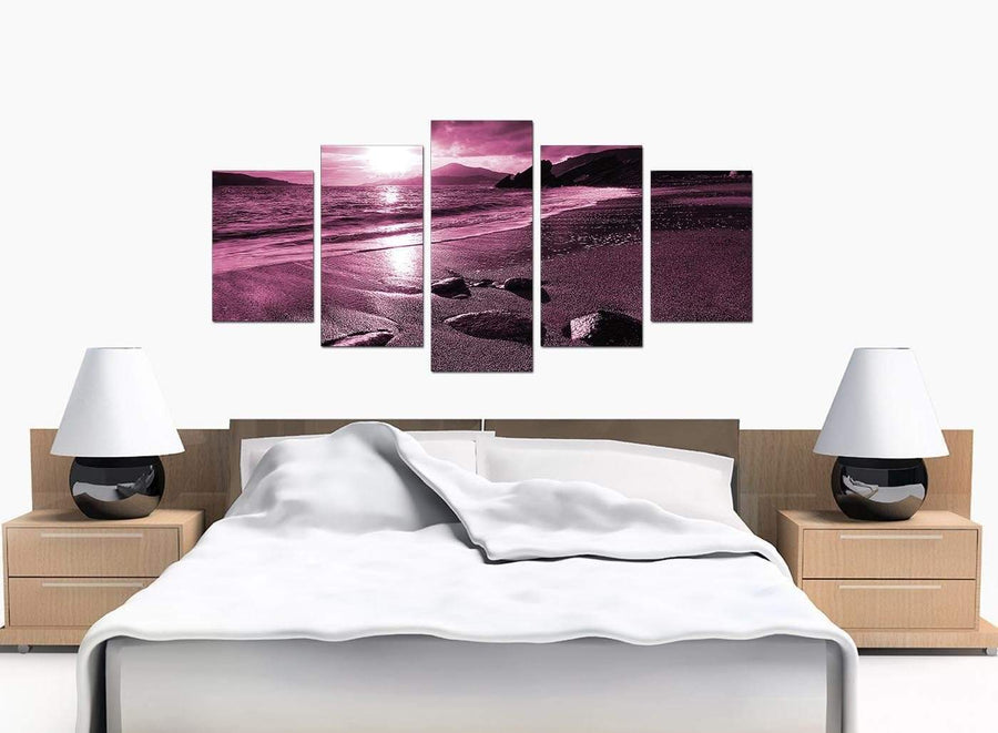 Set Of Five Large Plum Canvas Picture