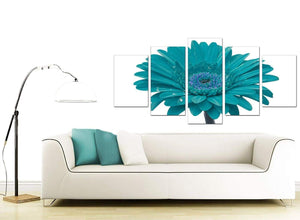 Teal White Gerbera Daisy Flower Floral Modern Canvas Art