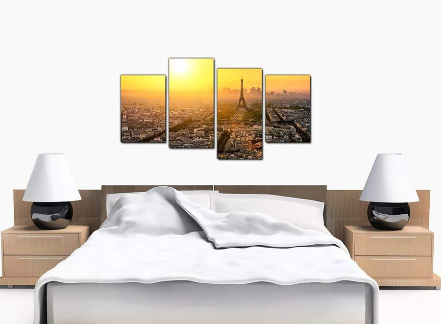 Set Of Four Bedroom Yellow Canvas Wall Art