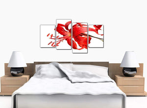 Set Of 4 Bedroom Red Canvas Pictures
