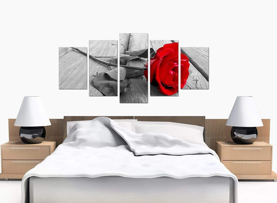 Five Part Set of Bedroom Red Canvas Wall Art