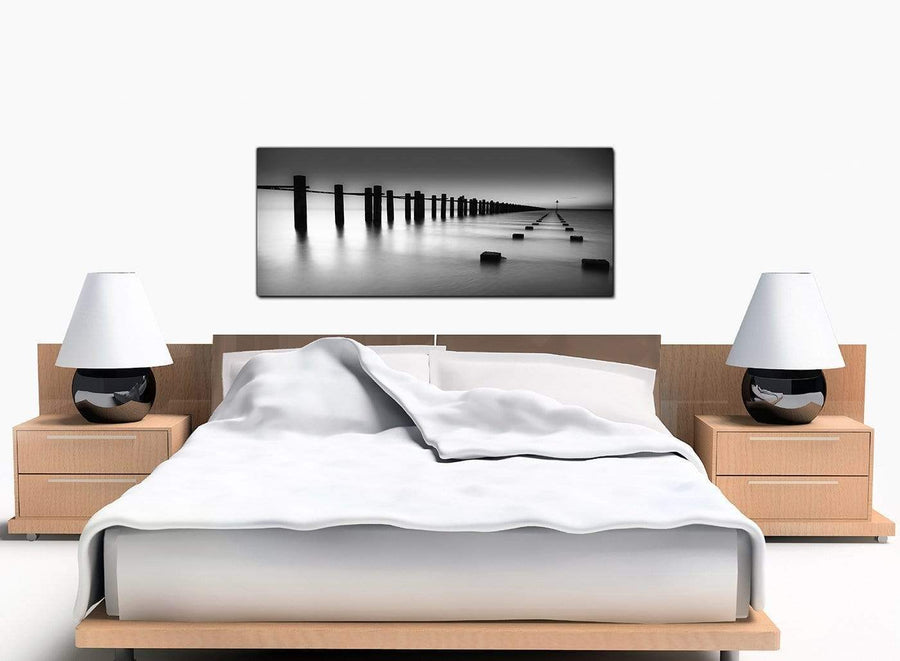 Abstract Lake Modern Black and White Canvas Picture