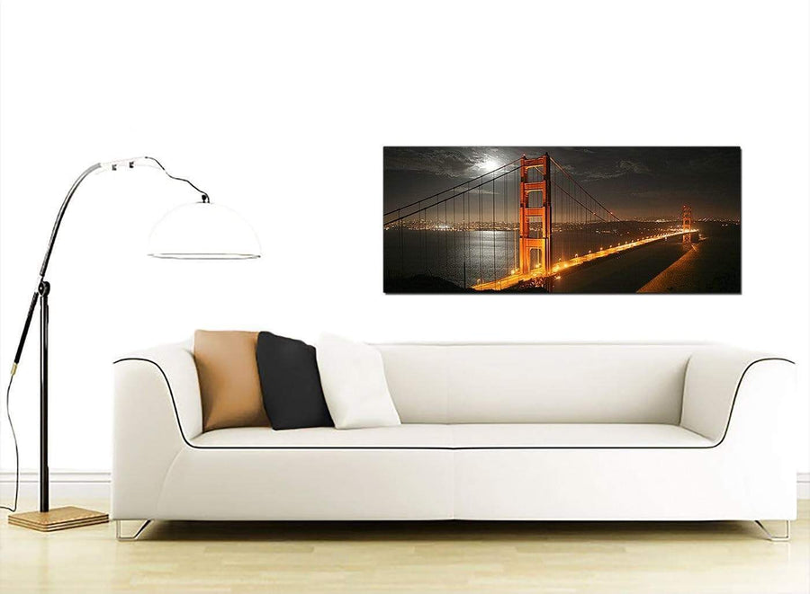San Francisco Golden Gate Bridge Night Cities Canvas