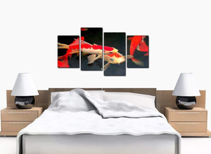 Set Of 4 Large Red Canvas Picture