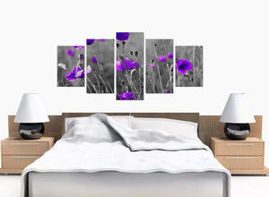 Five Panel Set of Extra-Large Purple Canvas Art