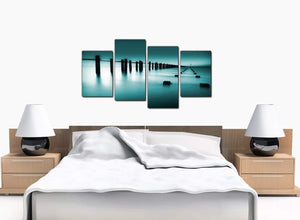 Set Of Four Bedroom Teal Canvas Art