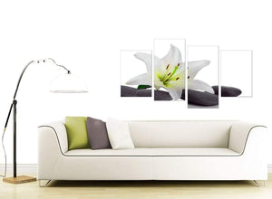 4 Part Set of Modern Black White Canvas Art