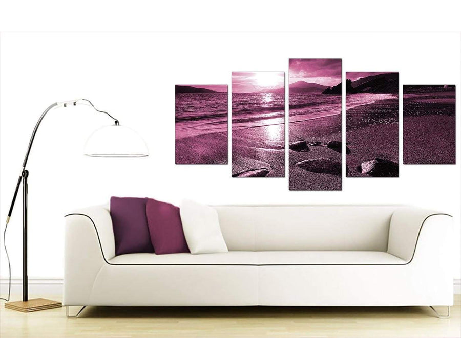 Plum Coloured Sunset Beach Scene Landscape Canvas