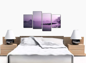 Four Panel Set of Bedroom Purple Canvas Art