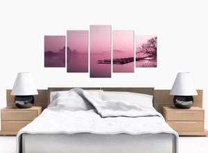 Five Part Set of Bedroom Plum Canvas Wall Art