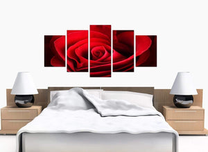 5 Part Set of Bedroom Red Canvas Picture