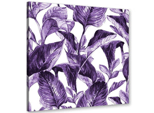 Modern Dark Purple White Tropical Exotic Leaves Canvas Modern 49cm Square 1S322S For Your Bedroom