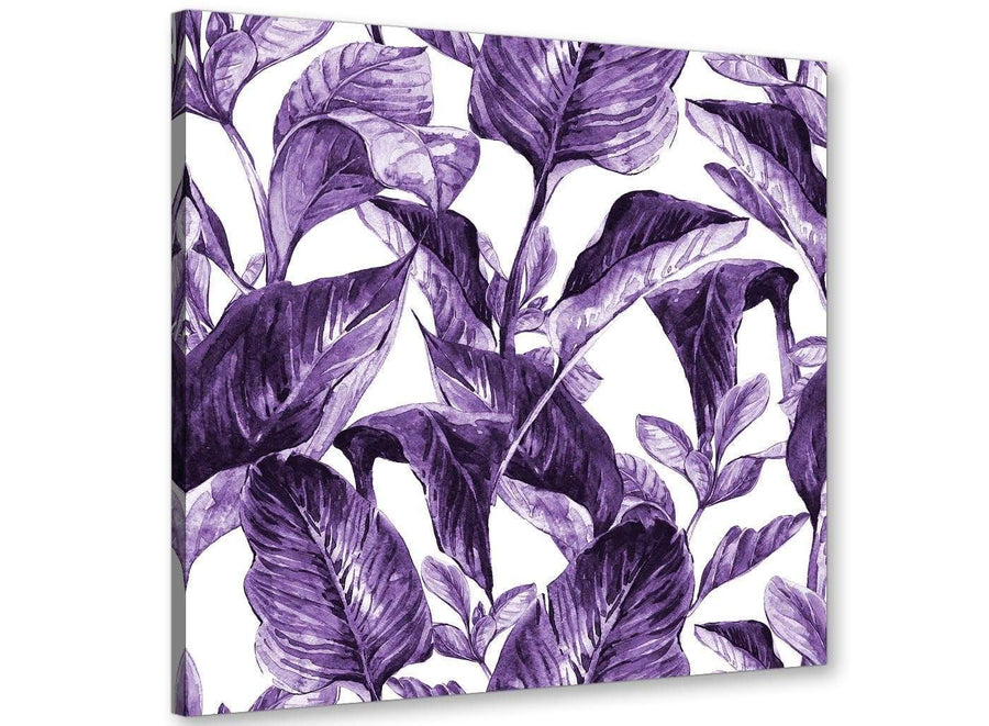 Modern Dark Purple White Tropical Exotic Leaves Canvas Modern 79cm Square 1S322L For Your Living Room
