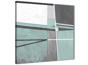 Modern Duck Egg Blue Grey Painting Abstract Office Canvas Pictures Accessories 1s396l - 79cm Square Print