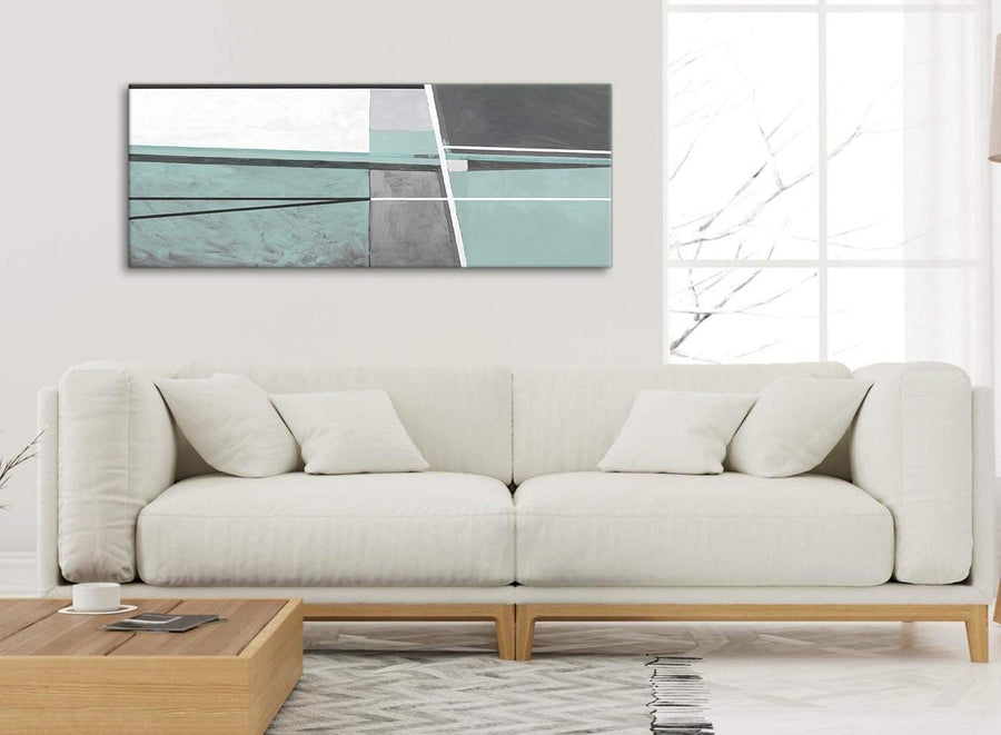 Modern Duck Egg Blue Grey Painting Bedroom Canvas Pictures Accessories - Abstract 1396 - 120cm Print